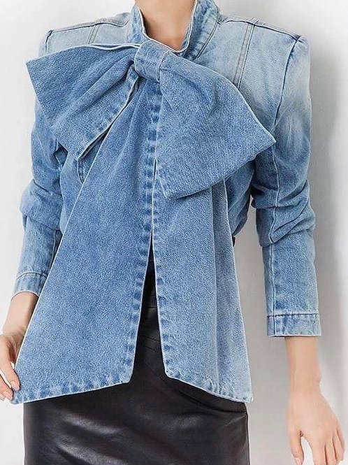 Bow Denim Blouse