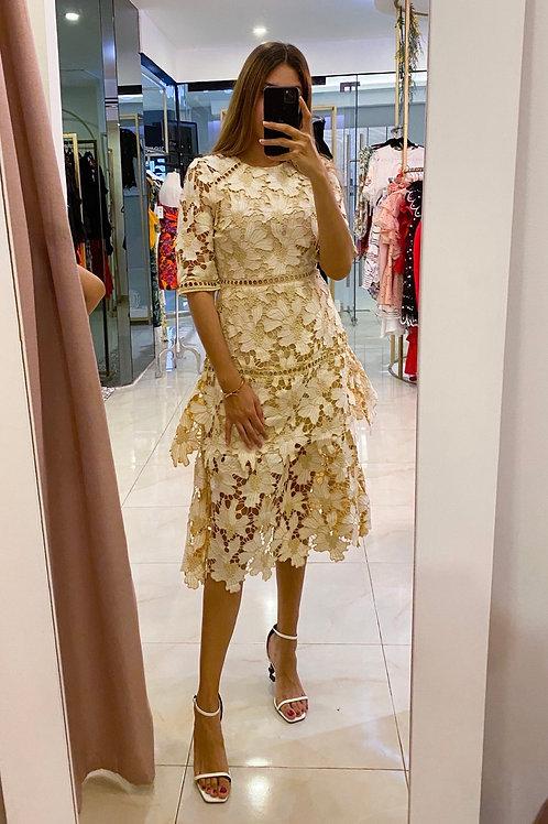 Beige/Lilac Lace Dress