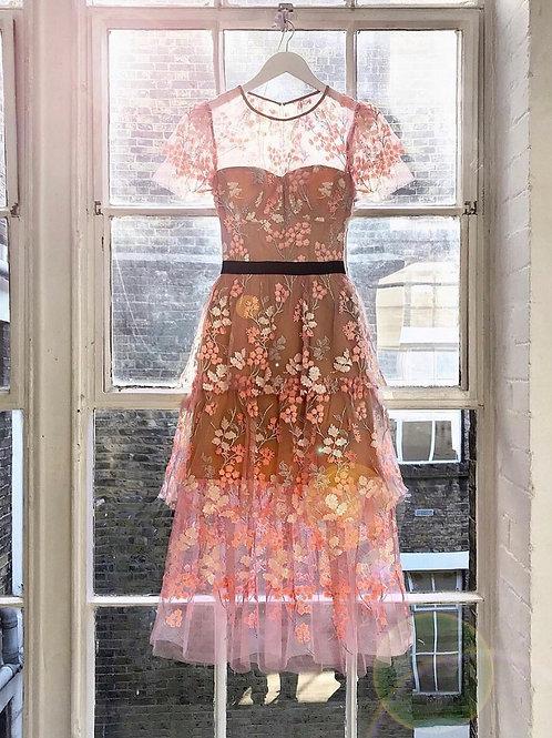 Rose Embellished Dress Black Stripe