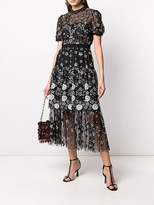 Black flowers Lace Dress