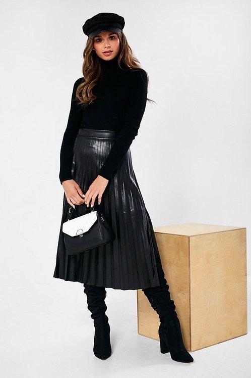Vinyl Pleated Skirt