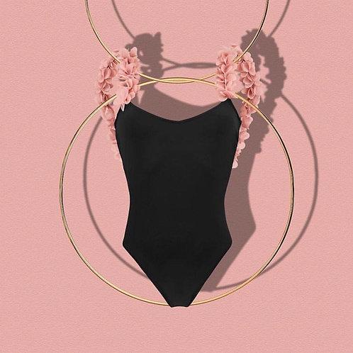 Black Swimsuit 3D Flowers