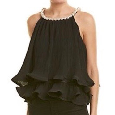 Pearls Blouse Black