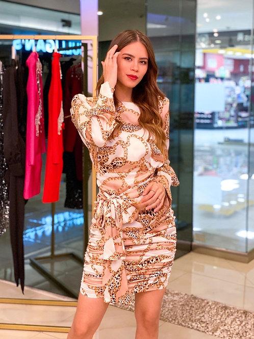 Satin Chain Print Dress