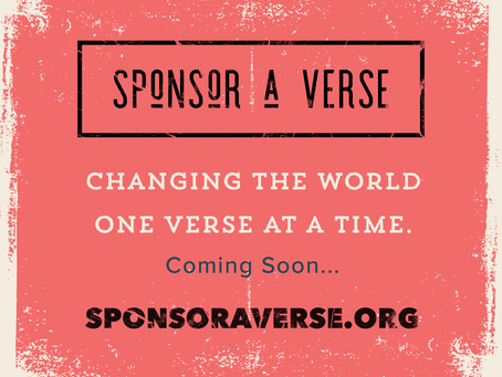 One year on and Sponsor a Verse to be launched!