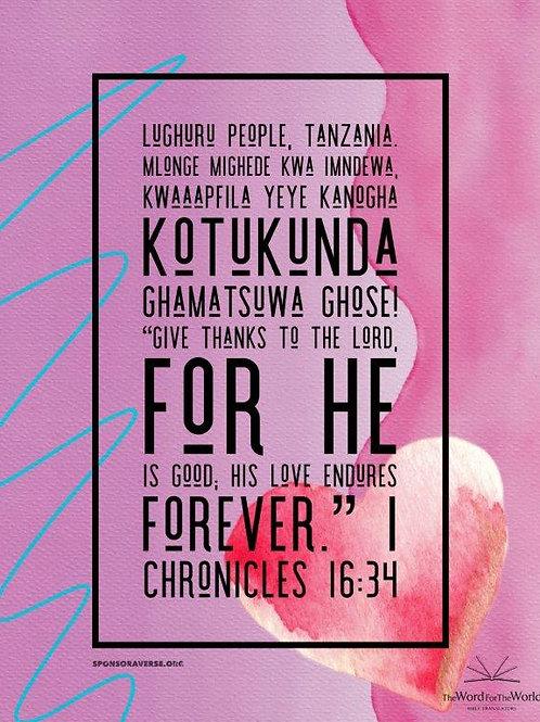 Sponsor this Verse - 1 Chronicles 16:34
