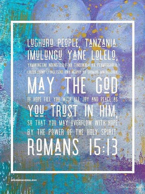 Sponsor this verse: Romans 15:13