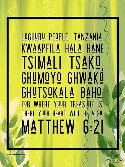 Sponsor this Verse - Matthew 6:21