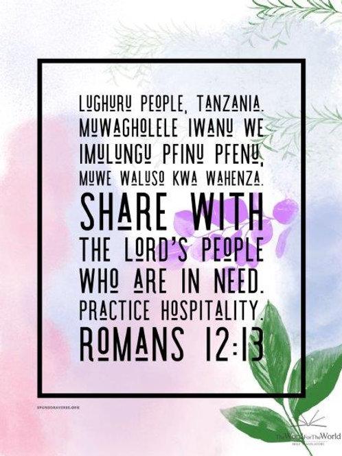 Sponsor this Verse - Romans 12:13