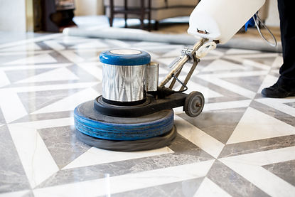 man polishing marble floor in modern off