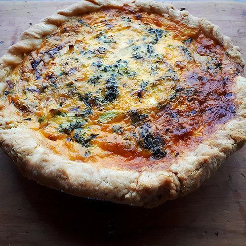 Broccoli, Cheddar, Sun-Dried Tomato and Leek Quiche