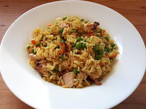 Middle Eastern Rice Salad with Toasted Almonds and Grilled Chicken