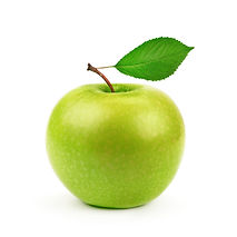 Green apple with leaf isolated on a whit