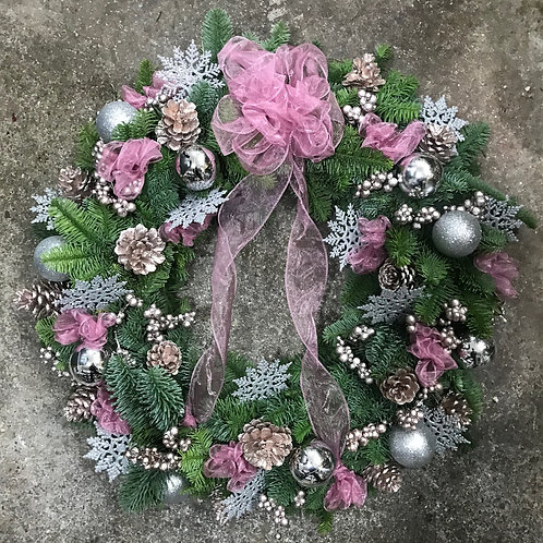 Pink & Silver Wreath