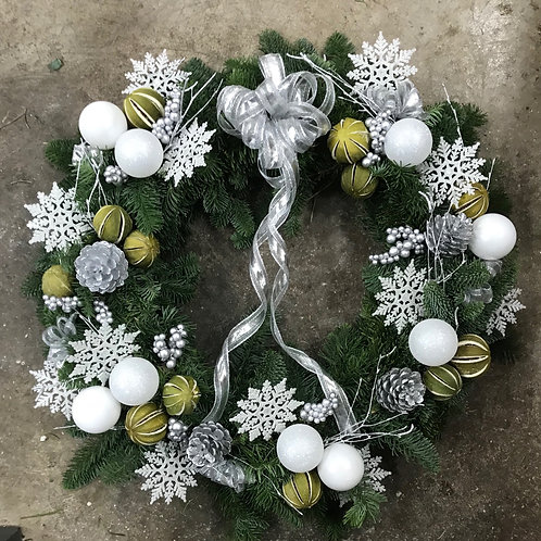Silver & Green Wreath