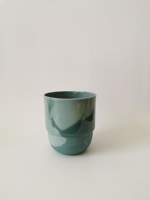 Hella Duijs koffie mok klein gemarmerd groen