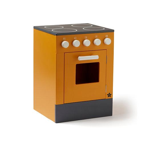 Houten fornuis met oven geel
