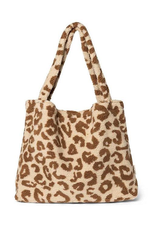 Studio Noos Mom Bag chunky teddy leopard ecru