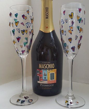 HANDPAINTED CHAMPAGNE GLASS - each