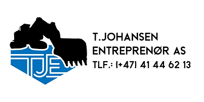 TJE Logo svart + farge m tekst hvit bakg