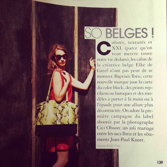 Ibriz featured in the July 2014 edition of Marie Claire Belgique