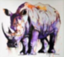 modern contemporary wildlie artists interpretation of a Rhino