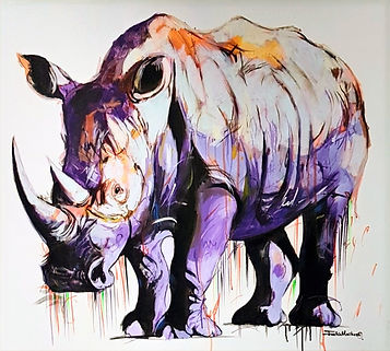 modern contemporary wildlie artists interpretation of a Rhino