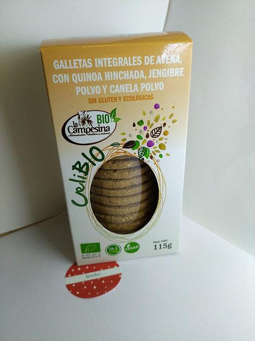 Galletas integrales de avena con quinoa , jengibre y canela. 115 gr