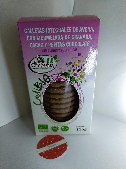 Galletas integrales de avena con mermelada de granada, cacao y chocolate 115 gr