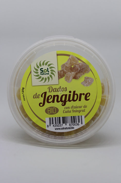 Dados de Jengibre con Azúcar de caña integral 125 gr