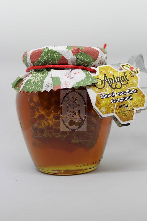 Miel de eucalipto con panal Apigal 400 gr.