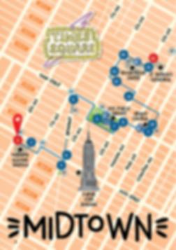 Plan d'un parcours en famille avec enfants à Midtown
