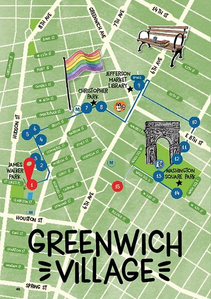 Plan d'un parcours en famille avec enfants à GREENWICH VILLAGE
