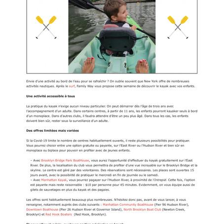 Une sortie Kayak à New York pour se rafraîchir (liens sous l'article)