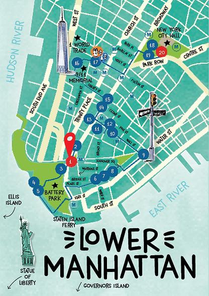 Plan d'un parcours en famille avec enfants à Lower Manhattan