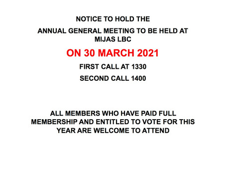 AGM date 30th March