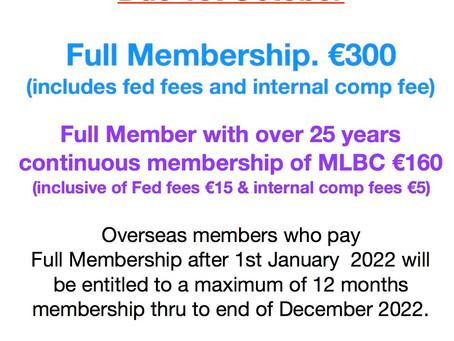 Annual Membership fees due Oct.