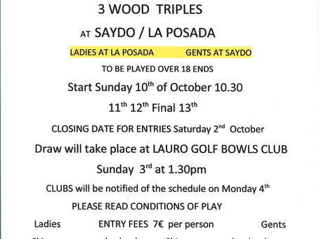 Provincial 3 Wood Triples Call Notice
