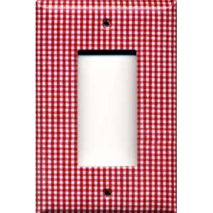 red gingham small print fancy switchplates decorative switch plate covers - Decorative Switch Plate Covers