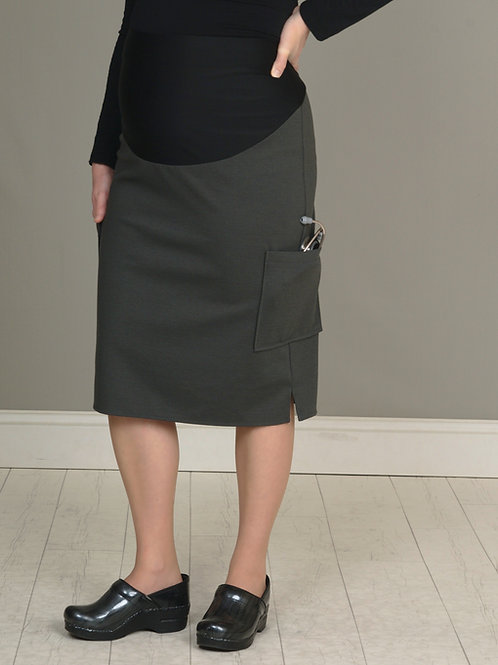 Pewter Maternity Scrub Skirt