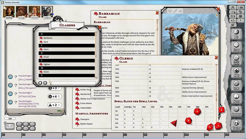 Tela de criação de personagem do Fantasy Grounds