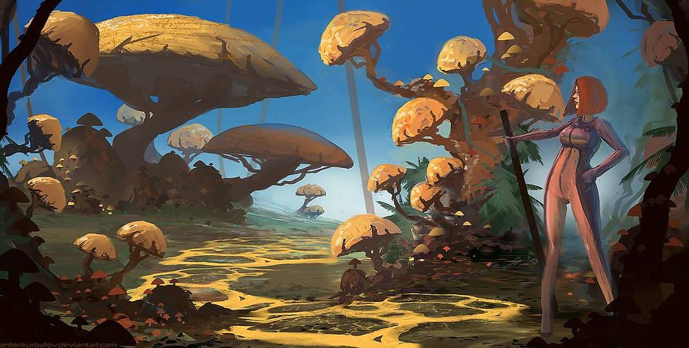 Yellow fungus road by AntonKurbatov