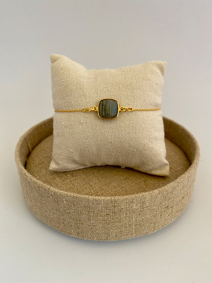 "Armband ""Round Rectangle Labradorite"" Gold"