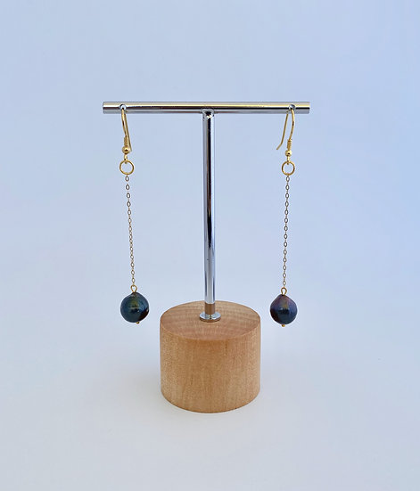 "Ohrringe ""Black Pearl Dangle"" Gold"