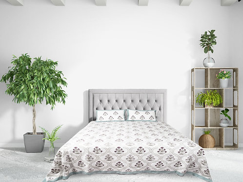 Green Trellis Quilted Bedcover