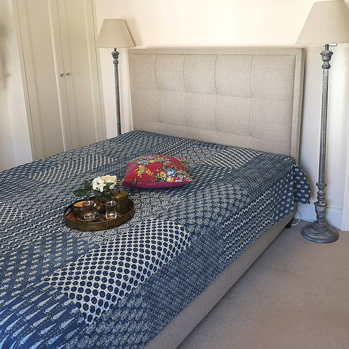 Azul Kantha Patchwork Bedcover