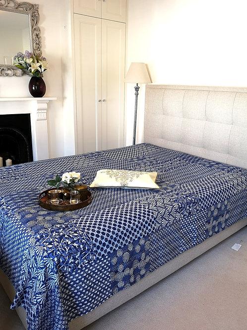 Sininen Patchwork Kantha Bedcover