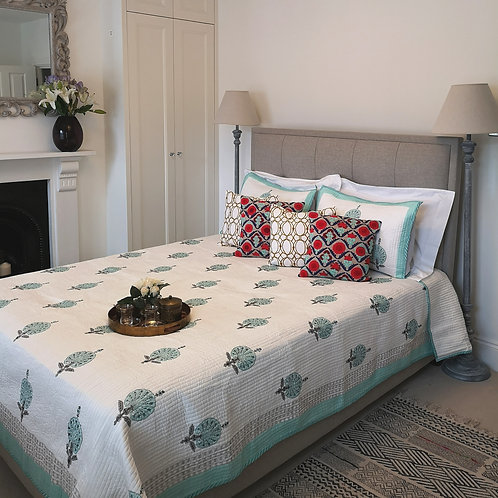 Turquoise Peacock Quilted Bedcover