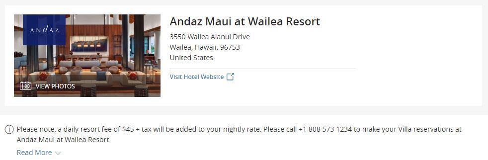 Resort fee at Andaz Maui