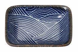SEIGAIHA BLUE PLATE 9.5X7CM